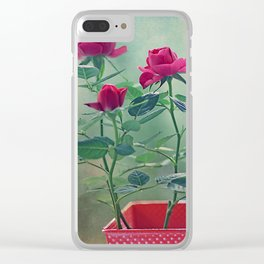 Pink roses in a pot. Clear iPhone Case