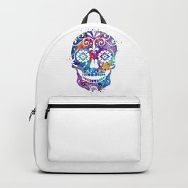 Sugar Skull Art Colorful Blue Purple Watercolor Gift Mexican Skull Art Day of the Dead Gift Backpack
