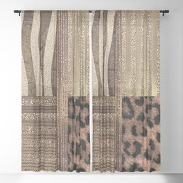 Gold Lioness Safari Chic Sheer Curtain