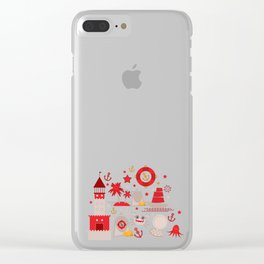 pattern with sea icons on white background. Seamless pattern. Red and gray Clear iPhone Case