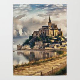 Mont Saint Michel castle painting, French island scenery, Normandy France nature, travel art poster Poster