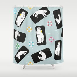 Hand Drawn Funny Cats Sunbathing Shower Curtain