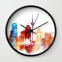 Madrid Watercolor Skyline Wall Clock