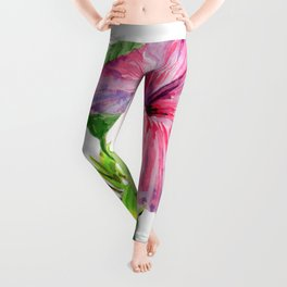 Tropical Pink Hibiscus Watercolor Leggings