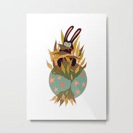 Black Rabbit Leaf Eater Metal Print