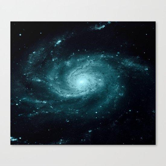 Spiral gALAxy Teal Canvas Print