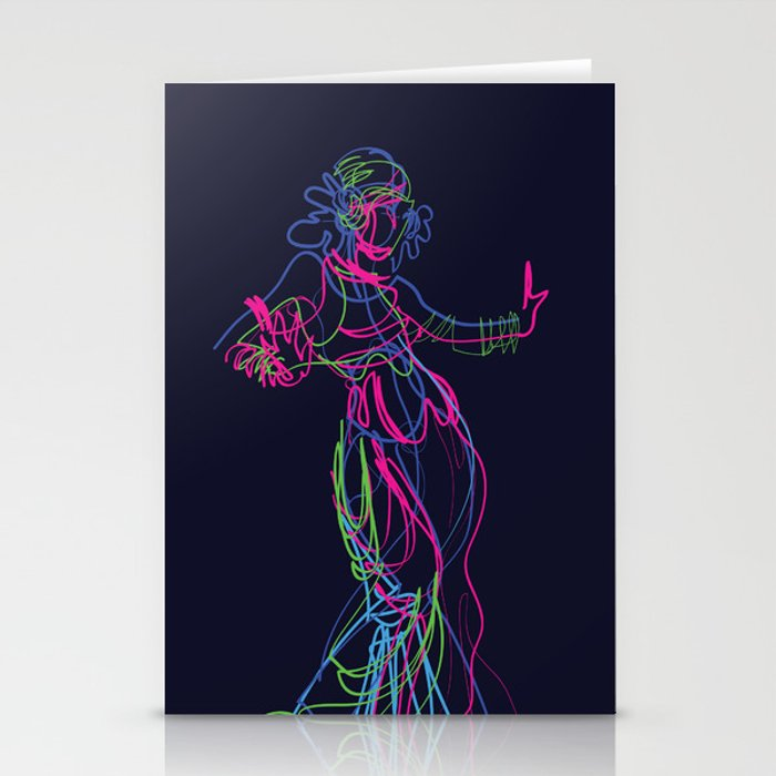 Tribal fusion dance color power. Abstract. Neon glowing  gesture sketch Stationery Cards