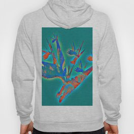 Teal and Aqua Glowing Bird of Paradise Floral Hoody