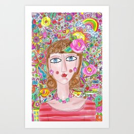 Woman with her things Art Print