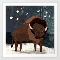 buffalo Art Prints featuring Buffalo by Christiane Engel
