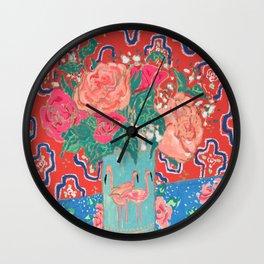 Roses in Enamel Flamingo Vase Wall Clock