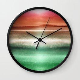 """Rose Orange Sky over Teal Emerald South Sea"" Wall Clock"