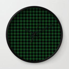 Original Forest Green and Black Rustic Cowboy Cabin Buffalo Check Wall Clock