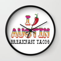 chile Wall Clocks featuring I chile Austin by Black Oak ATX