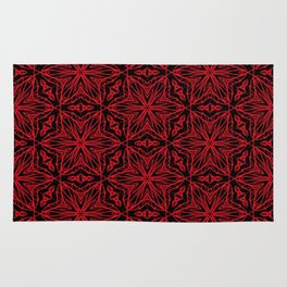 Black and red geometric flowers 5006 Rug