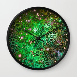 RAINBOW DOTTY OCEAN 3 Green Lime Ombre Space Galaxy Colorful Polka Dot Bubbles Abstract Painting Art Wall Clock