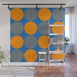 orange and gray circles blue background Wall Mural