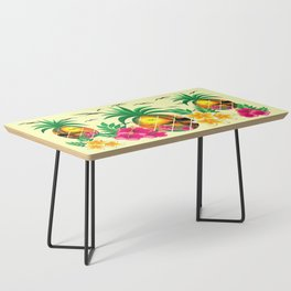 Pineapple Tropical Sunset, Palm Tree and Flowers Coffee Table
