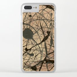 Pollock Inspired Abstract Black On Beige Corbin Art Contemporary Neutral Colors Clear iPhone Case
