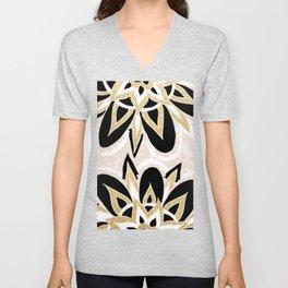 Modern black gold pink abstract floral pattern Unisex V-Neck