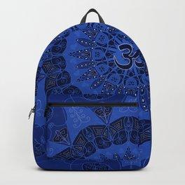 Mandala pattern yoga sign namaste navy dark blue cobalt Backpack