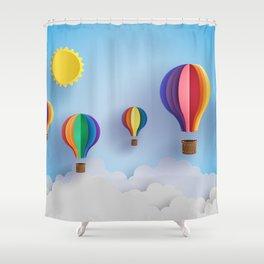 Balloon Festival 3D Paper Art Shower Curtain