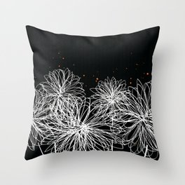 Black Doodle Floral by Friztin Throw Pillow