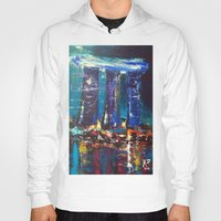 singapore Hoodies featuring Marina Bay Sands Singapore by Kasia Pawlak