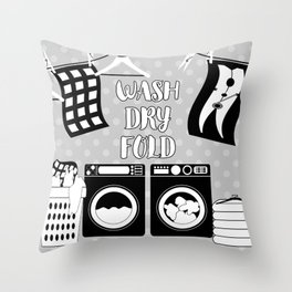 Laundry Sign - Gray, Black, White Throw Pillow