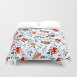 Country orange blue watercolor hand painted flowers Duvet Cover