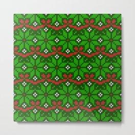 Festive knitted snowflake motif pattern in green & red Metal Print
