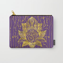Gold Lotus flower and OM symbol Carry-All Pouch