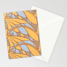 Modern art nouveau tessellations gamboge azure Stationery Cards