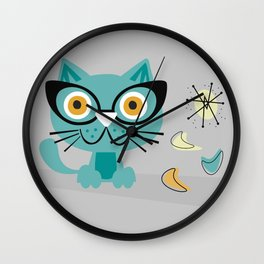 1950s Atomic Age Mid Century Modern Kitty Cat Wall Clock