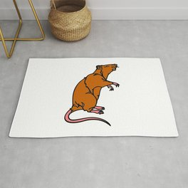 A Rat Standing on its legs Sniffing in Color Rug