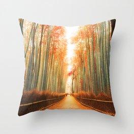 Arashiyama Bamboo Forest in Kyoto, Japan Throw Pillow