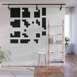 Monochrome Pixels Wall Mural