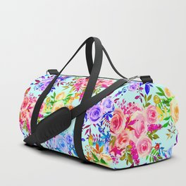 Trendy Pink Lilac Mint Blue Watercolor Floral Duffle Bag