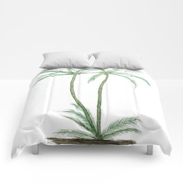 two palm trees watercolor Comforters