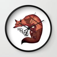 red hood Wall Clocks featuring Little Red Riding Hood by olivier silven
