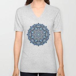 Eight Fold Mandala 6 in Blue Unisex V-Neck