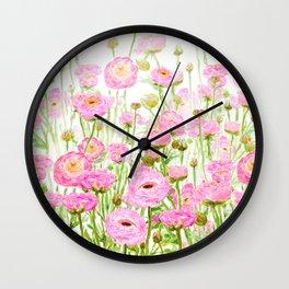 pink buttercup ranunculus field watercolor Wall Clock
