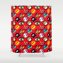 Super Mario World | red fire | enemies pattern Shower Curtain