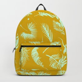 Golden palm pattern with bright mint color Backpack