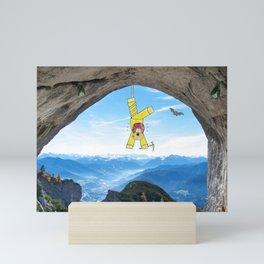 Funny Dog Painting / Photography Mountain Adventure Mini Art Print