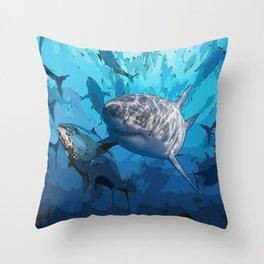 Blue shark under ocean  Throw Pillow