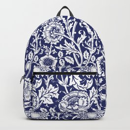 "William Morris Floral Pattern | ""Pink and Rose"" in Navy Blue and White Backpack"