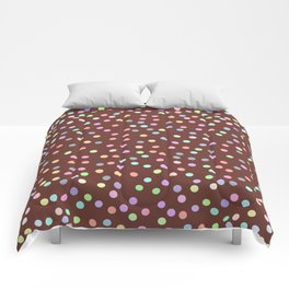 chocolate Glaze with sprinkles. Brown abstract background Comforters