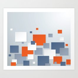 BLUE, WHITE AND ORANGE SQUARES ON A PALE BLUE BACKGROUND Abstract Art Art Print