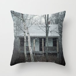 Falling on the Cabin Throw Pillow